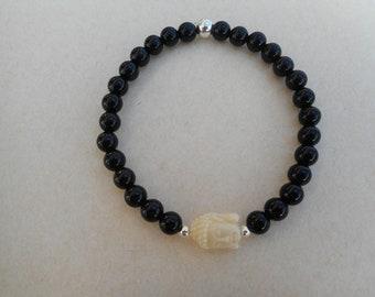 Black onyx Buddha bracelet
