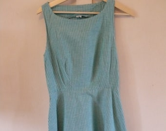 90's blue striped cotton dress