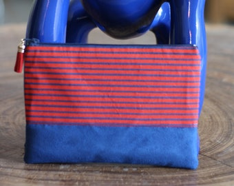 Suede fabric and blue with stripes in blue and Red pouch
