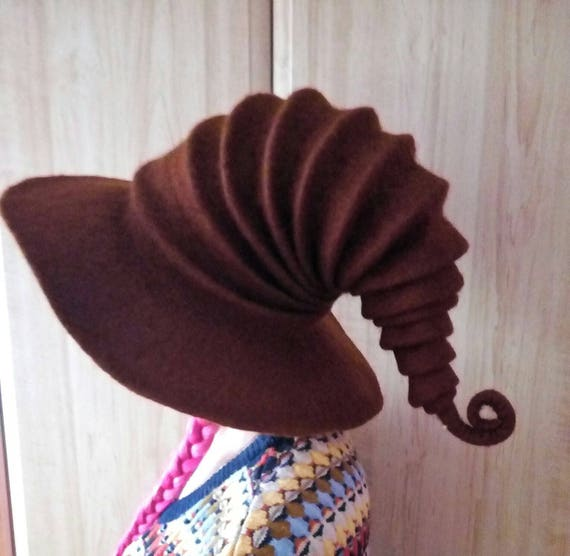 Witch hat wizard hat . felt hat Brown felted hat from wool  327e2c0c968