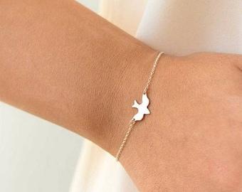 Silver chain bird bracelet