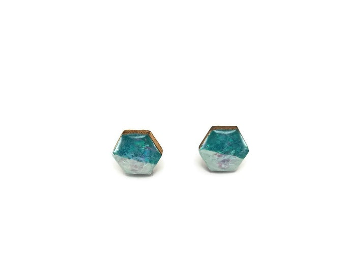 wood and resin studs, wood earrings, resin studs, hexagon studs, wood and resin earrings, stud earrings, wood, wood jewelry, resin jewelry