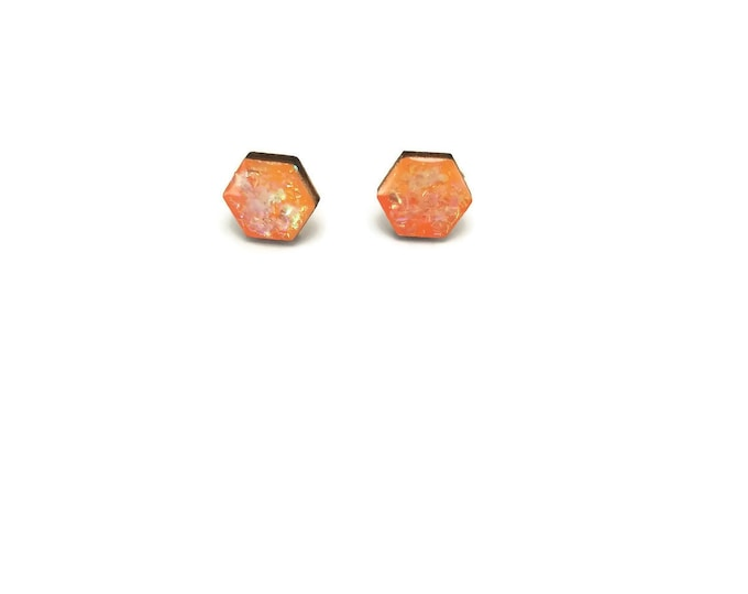 Jewelry, wood studs, wood earrings, studs, hexagon, wood and resin, stud earrings, wood, wood jewelry, wood art, handmade, unique jewelry
