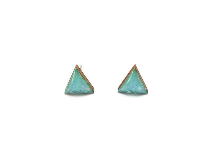 Jewelry, wood studs, wood earrings, studs, triangle, wood and resin, stud earrings, wood, wood jewelry, wood art, handmade, unique jewelry