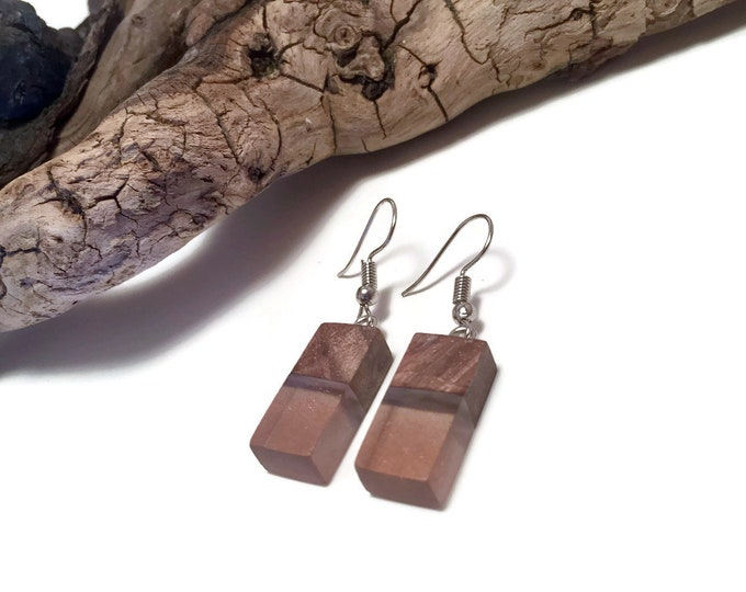 Jewelry, wood and resin, dangle, boho jewelry, wood and resin earrings, reclaimed wood, wood jewelry, wood art, handmade, unique jewelry