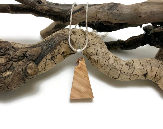 Jewelry, wood and resin necklace, boho jewelry, wood and resin pendant, reclaimed wood, wood jewelry, wood art, handmade, unique jewelry
