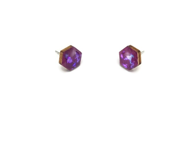 Jewelry, wood studs, wood earrings, studs, hexagon, wood and resin, stud earrings, wood, wood jewelry, wood art, handmade, unique jewelry
