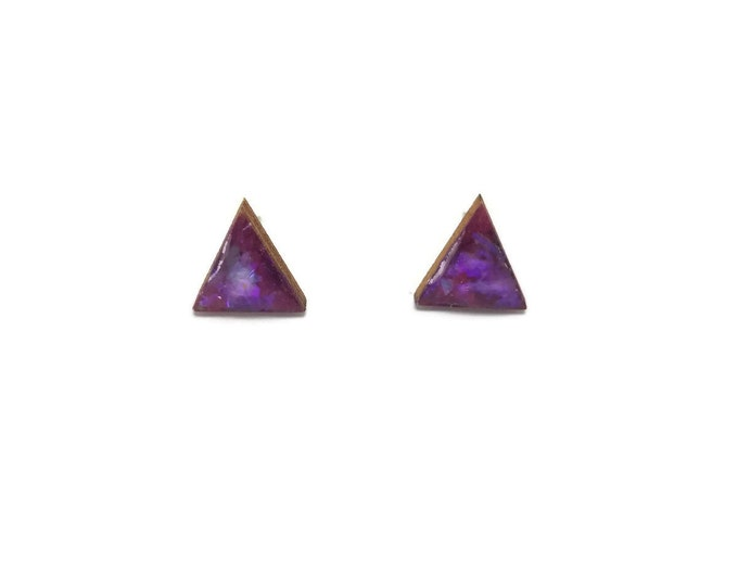 Jewelry, wood studs, wood earrings, studs, triangle, wood and resin, stud earrings, wood, wood jewelry, wood art, handmade, unique jewelry