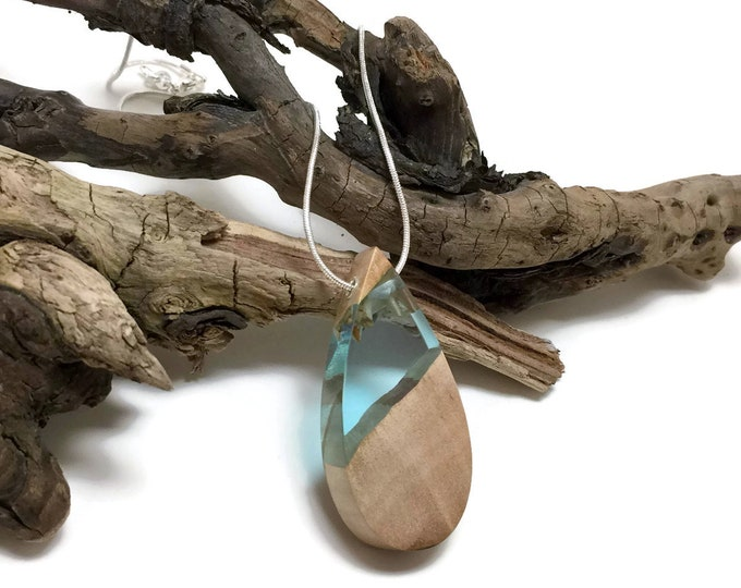 wood and resin, jewelry, necklace, boho jewelry, wood and resin pendant, reclaimed wood, wood jewelry, wood art, handmade, unique jewelry