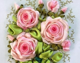 Pink Roses Bouquet Silk Ribbon Embroidery 3D on Canvas