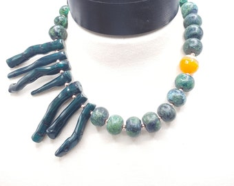 Bold Teal Coral Necklace,  Asymmetrical Necklace, Unique, One of a Kind