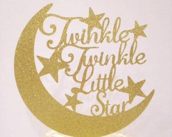 Twinkle Twinkle Little Star(s) Cake Topper / Baby Shower / Baby Reveal / Twins Birthday Cake Topper in Sparkling Glitter