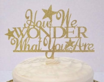 How We Wonder What You Are Cake Topper / Gender Reveal / Baby Shower in Sparkling Glitter