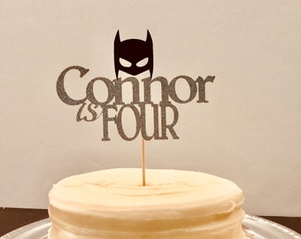 Batman Cake Topper w/Name and Age Included! Easy-To-Read design for your child! Perfect for Birthday Celebrations!  All in Sparkling Glitter