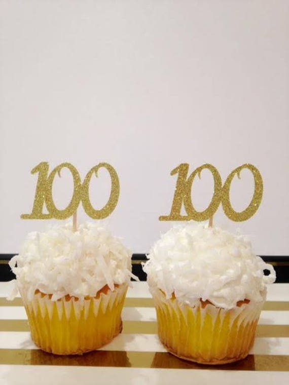 100 Birthday Cupcake Toppers Milestone
