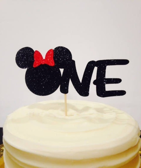 Tremendous One Birthday Cake Topper Minnie Mouse Or Mickey Mouse First Etsy Personalised Birthday Cards Vishlily Jamesorg