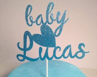 Welcome Baby Boy Cake Topper in sparkling glitter - very cute!  Custom Name Cake Topper.