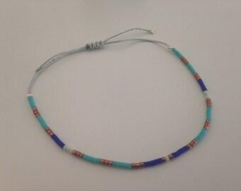 Light grey jade wire and Japanese Glass Beads Bracelet