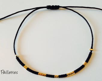 Black jade wire and Japanese glass beads black and gold plated bracelet