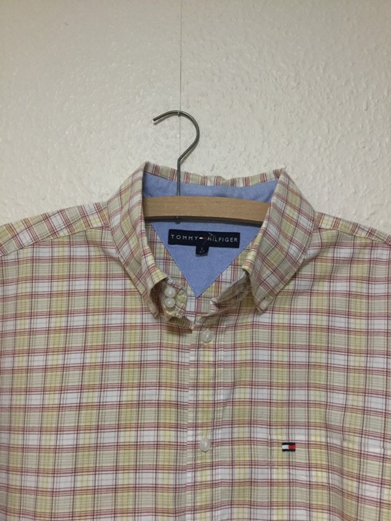 730c419a9 Vintage Tommy Hilfiger Mens Plaid Check Shirt Large Long | Etsy