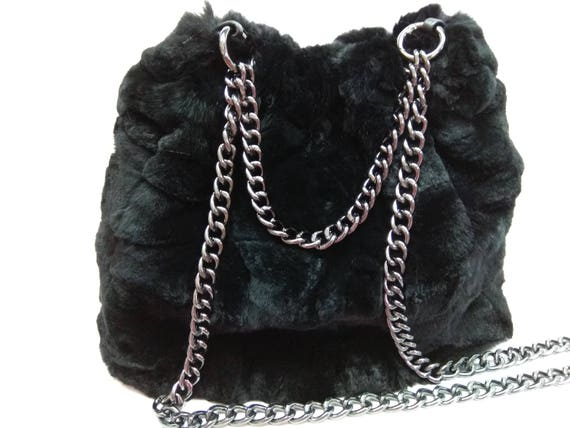 Fur Pouch Bag Rex Rabbit Fur Leather Bag Woman Fur Pouch  b483e62da474e