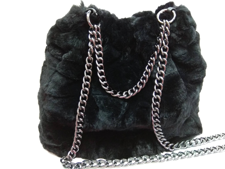 e8b2f5982a Fur Pouch Bag Rex Rabbit Fur Leather Bag Woman Fur Pouch