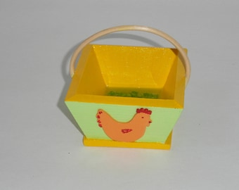 small wooden basket with handle