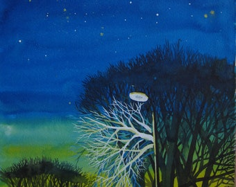 Originl art work, landscape, trees, sky, stars