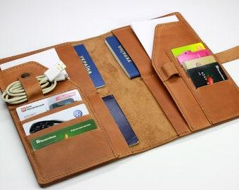 d59719785b5c Family passport holder Leather travel wallet Monogramed Leather travel  wallet 4 passport holder Personalized wallet Big travel wallet