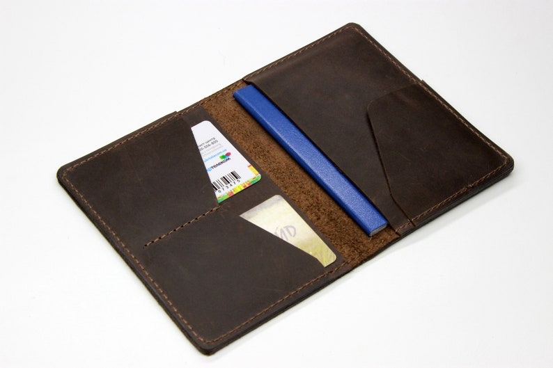 Personalized Brown Travel Wallet Cards Holder with Secure Passport Cover