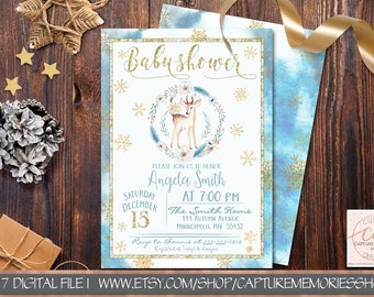winter baby shower invitation template printable boy blue etsy