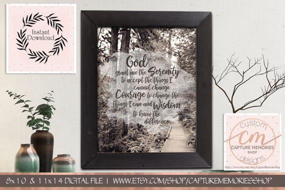 COURAGE WISDOM FULL VERSION SERENITY PRAYER BLACK FRAME GOD GRANT ME SERENITY