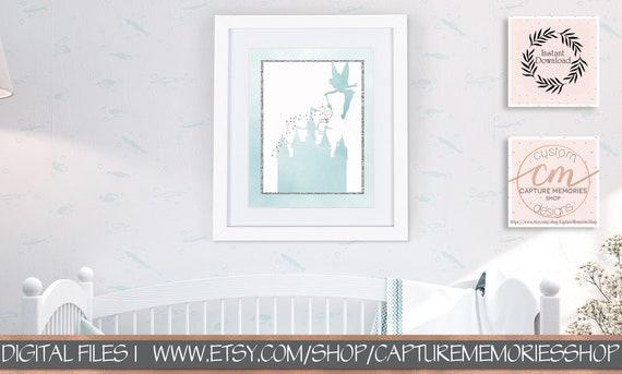 Disney Castle Print, Tinkerbell, Fairy, Castle, Girls Nursery Art ...