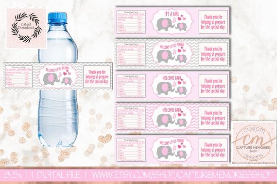 Water Bottle Labels Elephant Baby Showerprintable Water Bottle - Printable-water-bottle-labels