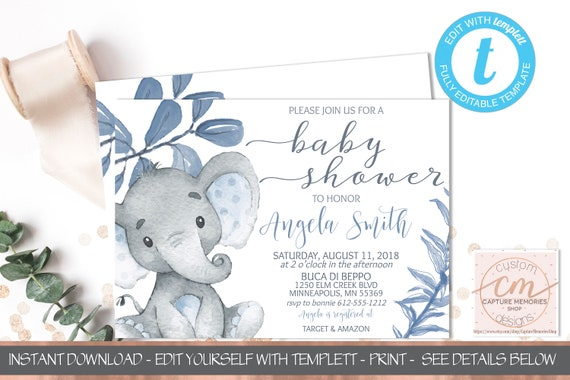 Blue Elephant Baby Shower Invitation Template Baby Shower Invite