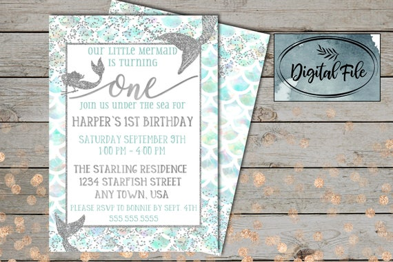Custom Mermaid Birthday Invitation
