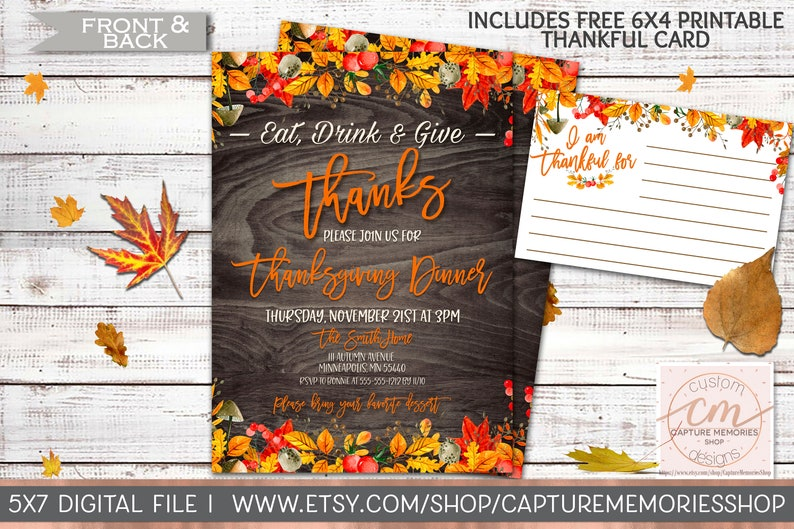 photograph relating to Printable Thanksgiving Invitations called Thanksgiving Invitation, Printable Thanksgiving Invite, Friendsgiving Invitation, Slide Leaves, Rustic Thanksgiving, Printable Thanksgiving