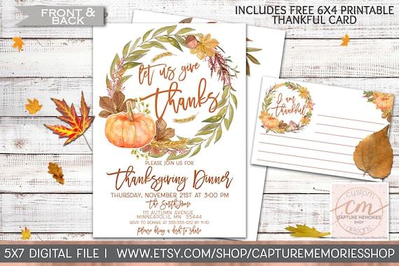 photo regarding Free Printable Thanksgiving Invitations titled Thanksgiving Invitation Printable, Thanksgiving Invite