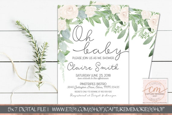 7455d5d9a807 Greenery Baby Shower Invitation