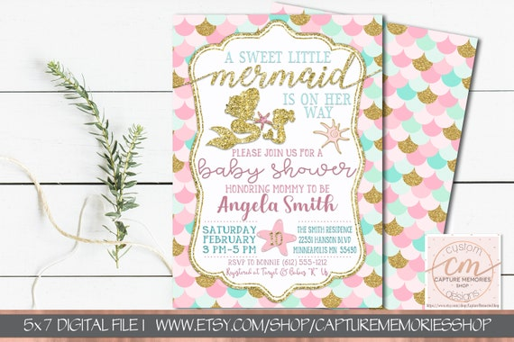 picture relating to Printable Mermaid Baby Shower Invitations identify Printable Mermaid Youngster Shower Invitation Mermaid Youngster