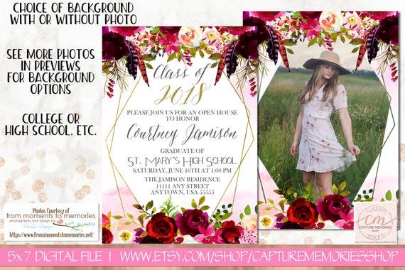 floral graduation invitation boho floral pink merlot floral