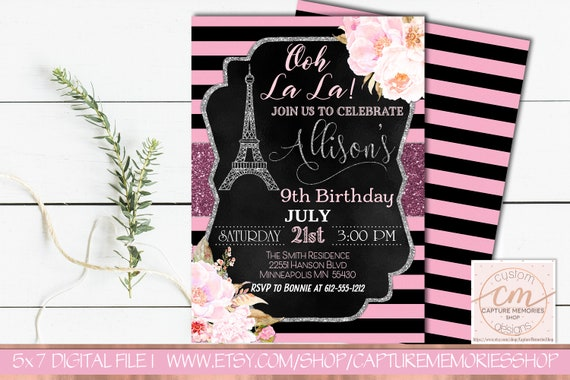 Paris Floral Birthday Invitation Eiffel Tower French Theme Party Invite Ooh La BlackPink Gold Silver