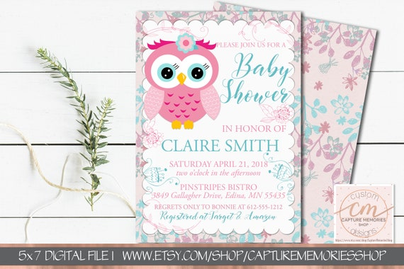 Owl Baby Shower Invitation Pink And Teal Girl Birthday Invite Owl