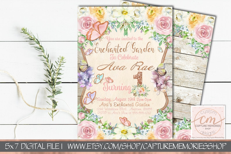First Birthday Invitations For Girl Butterfly Floral Invites