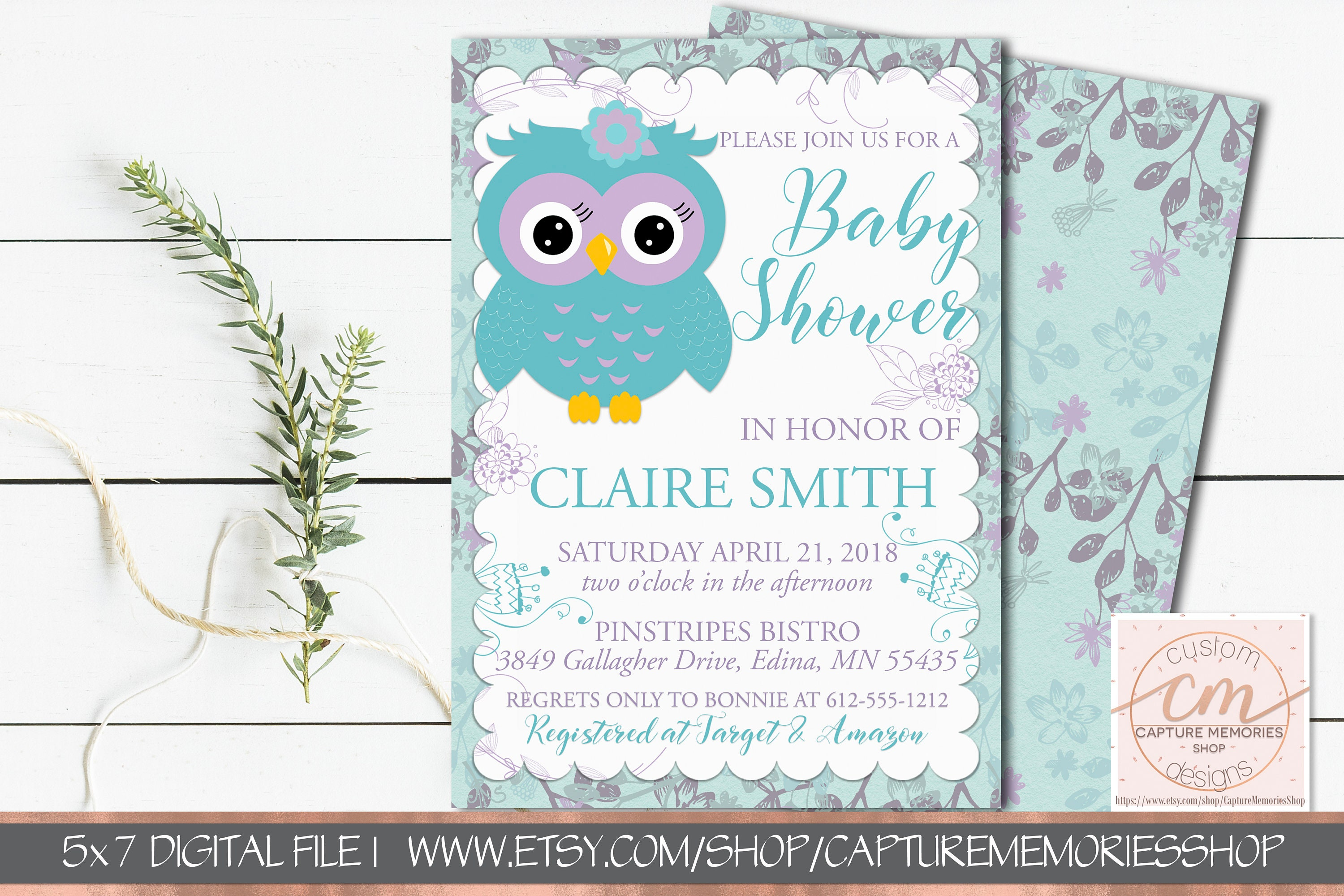 Owl Baby Shower Invitation Purple and Teal Birthday Invite   Etsy