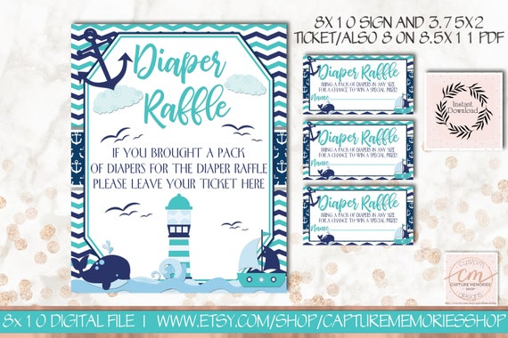 Baby Shower Karte Text.Nautical Diaper Raffle Insert Diaper Party Navy Teal Anchor