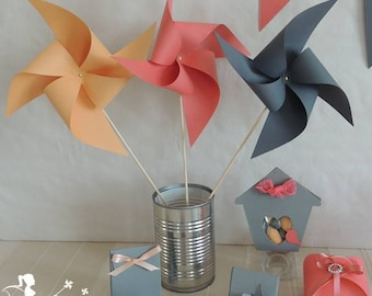 Set of 10 pinwheels wind peach coral gray 15cm