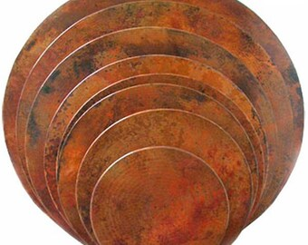 Round Hammered Copper Table Top (Natural Swirl)