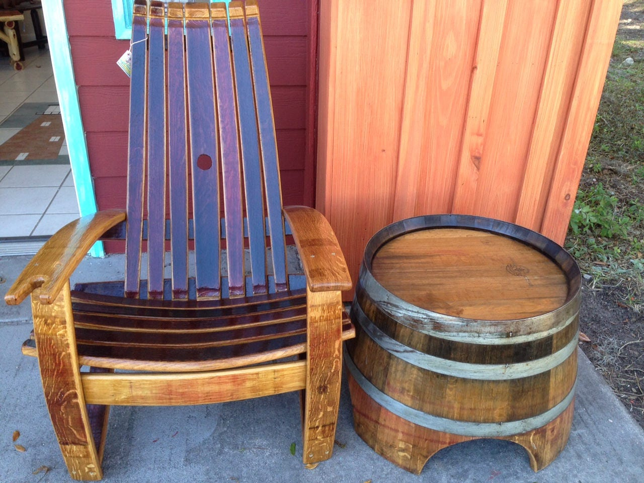 Wine Barrel Chairs   Whiskey Barrel Chairs   Comfortable Adirondack Chairs  Southeast Delivery Only