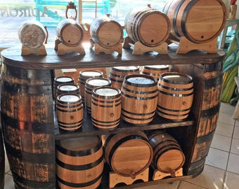 Whiskey Barrel Display With Caster Wheels. Display your bottles or use as kitchen island
